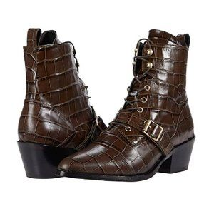 AllSaints Katy Brown Croc Embossed Lace Up Boots